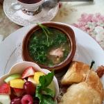 Half sandwich & soup. Chicken and rice cup of soup with Grilled chicken and bacon with cranberry