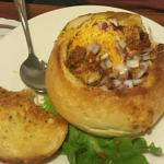 Chilli in a bread bowl. They have other soups that are not listed on the menu, so ask before ord