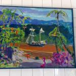 Caribbean painting in Nicole's dining room.