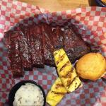 St. Louis ribs, garlic red potatoes, grilled pineapple -- excellent!