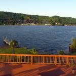 The view of Portage Lake from our 2nd-floor room.