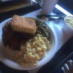 Fried chicken, macaroni and cheese, green beans, and corn bread