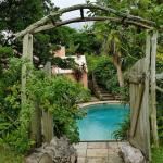 The entrance to the secluded pool