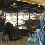 Seating overlooking the store.