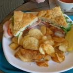 Clark's Deli Special with fresh potato chips and dill pickle