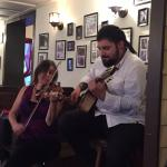 Sarah on violin & Allen on guitar