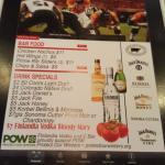 Happy hour menu at the bar