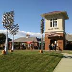 PM entrance with wine glass metal sculptures
