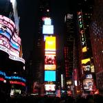 Time Square at night, 10 minute walk with child
