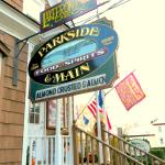 Here it is-The sign and entrance to Parkside & Main Restaurant in downtown Rangeley Maine