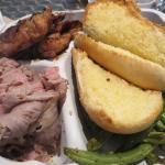 chicken, tri-tip, garlic bread, and green beans