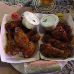 Asian Chile & Teriyaki wings with homemade ranch & blue cheese.