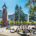 Propstra Square and Salmon Run Bell Tower in the summer