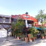 The inviting entery to Jardin Plaza Restaurant..  Large patio and interior with view of the plaz