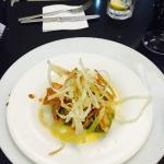 Veggie wontons with crisp fried onions
