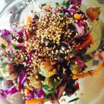 New delicious salads emerging from our kitchen--organic sesame and greens, cabbage (not organic