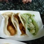 fish, shrimp, and pappas tacos
