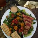 Grilled Tuna over mixed greens. SO filling and Yummy.