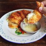 Croissant with condensed milk