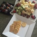 Cheese platter and choc covered strawberries