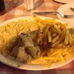 Chicken in a cream & mushroom sauce, rice & HOMEMADE chips delicious .