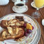 Homemade Carmel Apple French toast!  Beautiful tableware!
