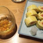 alcoholic drink , egg rolls with salmon eggs
