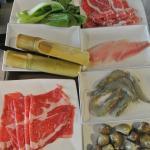 Vege/beef/fish paste/fish slice/beef/clam