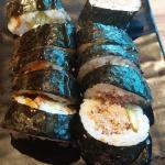 Cooked tuna and avo and teriyaki chicken sushi.
