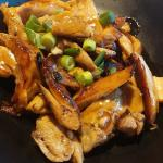 Close up of the teriyaki chicken from the teriyaki chicken udon noodle dish.