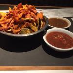 Chips and salsa, blue margarita