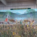 Looking back at the murals underneath the outdoor pool from the lake side.