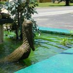 sculpture out front, in pond!