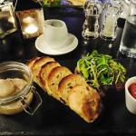 Chicken liver pate, spiced port and plum jam, crisp date bread with mixed leaves