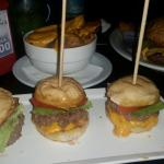 Mini burgers + cheddar French Fries - nothing to write home about
