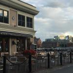 Waterfront park restaurant next to hotel