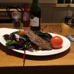 Steak, chips and salad