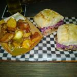 Steak Sandwich with purple coleslaw, fried potatoes and hot sauce, YUM!