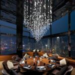 Private dining room at Ozone looking out to Victoria Harbour in Hong Kong