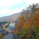 温泉神社のわきから温泉街を見下ろす。