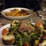 Salade de chèvre chaud et pâtes gorgonzola
