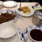 Mock Peking Duck, Hoisin Sauce, Pancakes, Spring Onions & Cucumber, Vegetarian Spring Rolls.