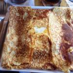"""""""The Breakfast"""" Savory Crepe with a fantastic fried egg"""