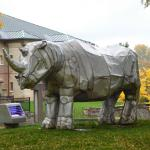 The famous rhinoceros sculpture on the front lawn