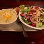 Broccoli Asiago Soup and Chicken Salad