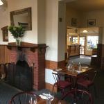 Open fireplace in restaurant