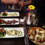 Delicious starters of halloumi & Turkish garlic sausage