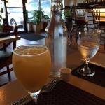 Sake Sangria made with fresh orange, mango and pineapple. Yum!