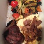 tenderloin with mashed potatoes and veggies
