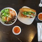 beef with rice noodle and shrimp bahn mi